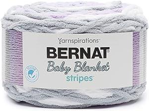 Bernat Baby Blanket Stripes, 10.5 oz, 100% Polyester, Violets