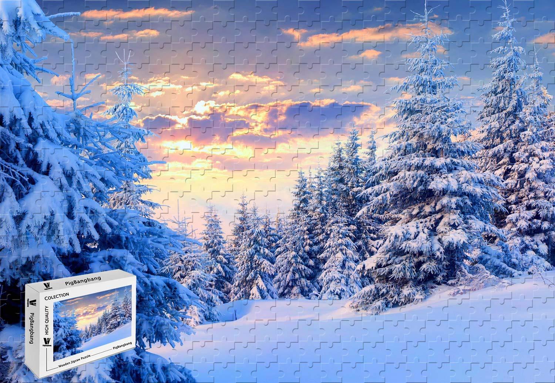 超人気新品 PigBangbang、34.4 X 22.6インチ、プレミアムバスウッド大型サイズ - 冬の雪の木 - - B07J4VYGYG、スカイサンセット自然風景 - 1500ピースジグソーパズル B07J4VYGYG, キタシタラグン:797c6e1d --- sinefi.org.br