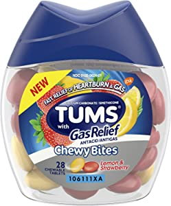 Tums Chewy Bites Antacid with Gas Relief, Lemon and Strawberry, 28 Chewable Tablets