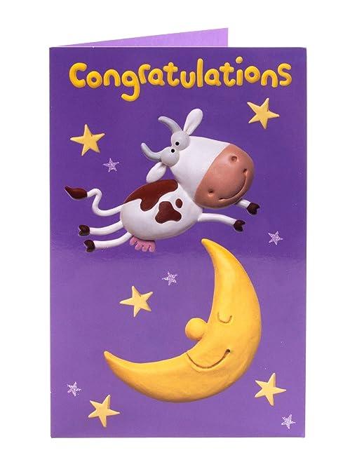 Vaca y luna Tarjeta de felicitación de felicitaciones bien ...