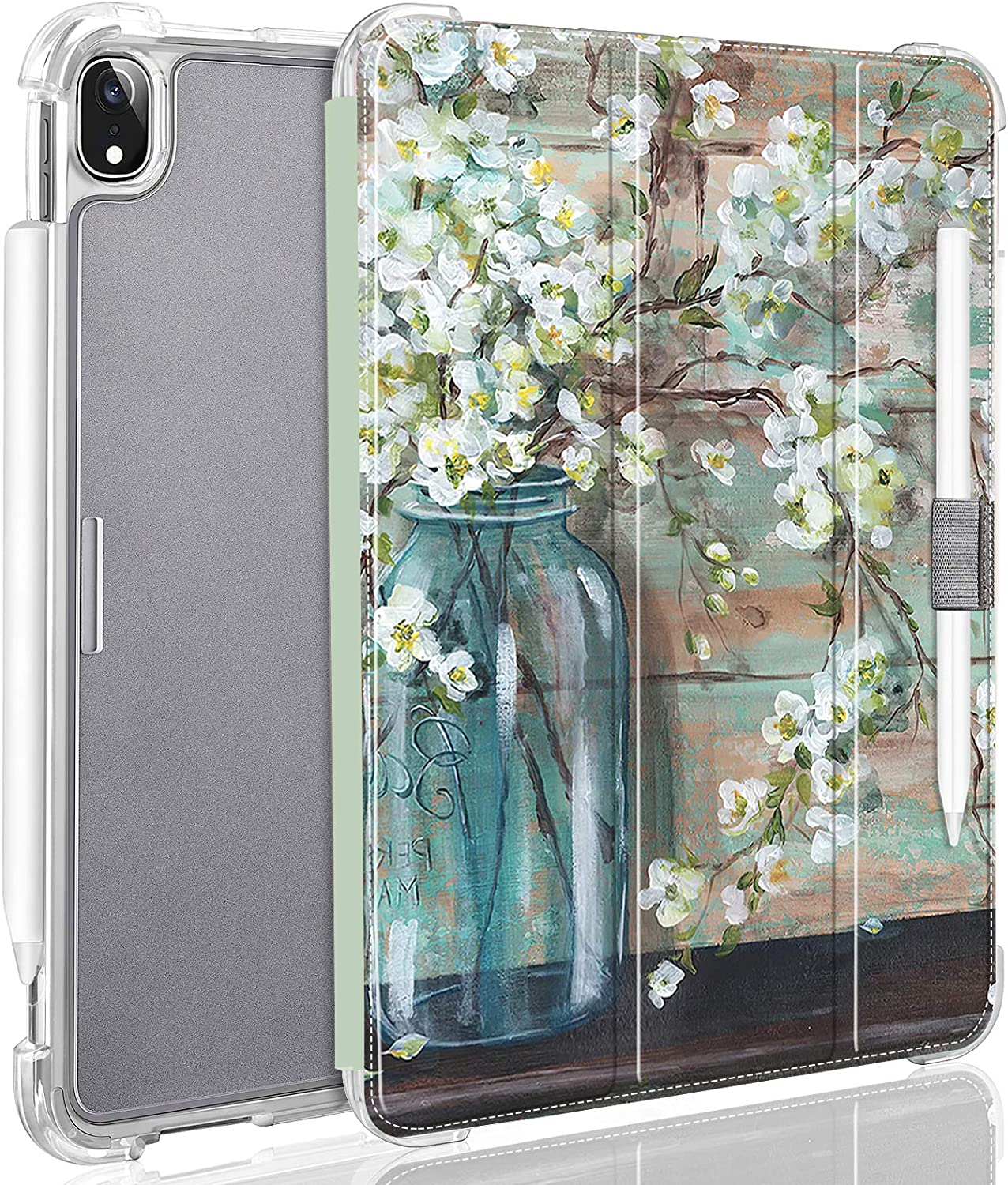 Case for iPad Air 4 2020 10.9 Inch Auto Sleep/Wake Cover [Support Apple Pencil 2 Charging] Smart Stand Translucent Frosted Back Cover Case for iPad Air 10.9 Inch (4th Gen) 2020 White Flower