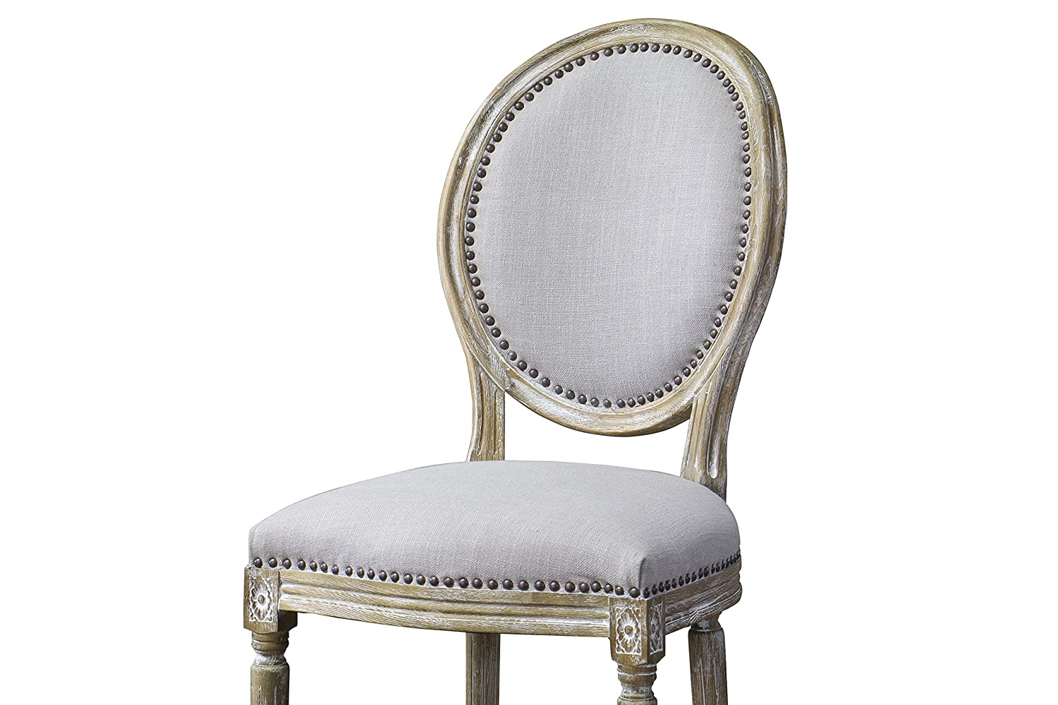 Amazon.com: Baxton Studio Clairette Beige Linen French Style Natural Oak  Wood Accent Chair, Oval Back: Kitchen U0026 Dining