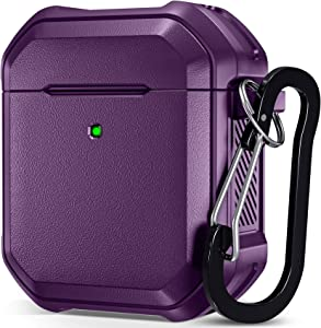 Charlam AirPods Case Cover Designed for AirPods 2 & 1, Sturdy Full-Body Protective Carbon Fiber Military Airpod Cases with Keychain for Men Women [Front LED Visible], Purple