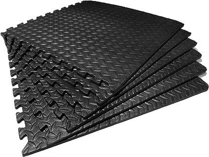 6 alfombrillas para hacer ejercicio o proteger el suelo de una sala de juegos o garaje (yoga, antifatiga, goma eva), diseño de puzle con follaje