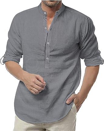 Coolfy - Camisas para hombre con rayas de manga larga y cuello alto, ajustadas, de algodón con bolsillos en el pecho, para el ocio: Amazon.es: Ropa y accesorios