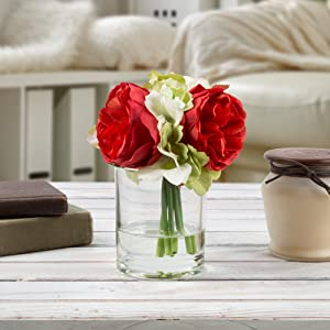 Pure Garden 50-136-RED Silk Floral Arrangement, Red