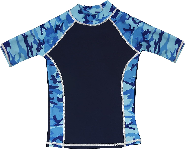 grUVywear Boys Rash Guard Short Sleeve UV Sun Protection Surf Swim Shirt UPF 50+