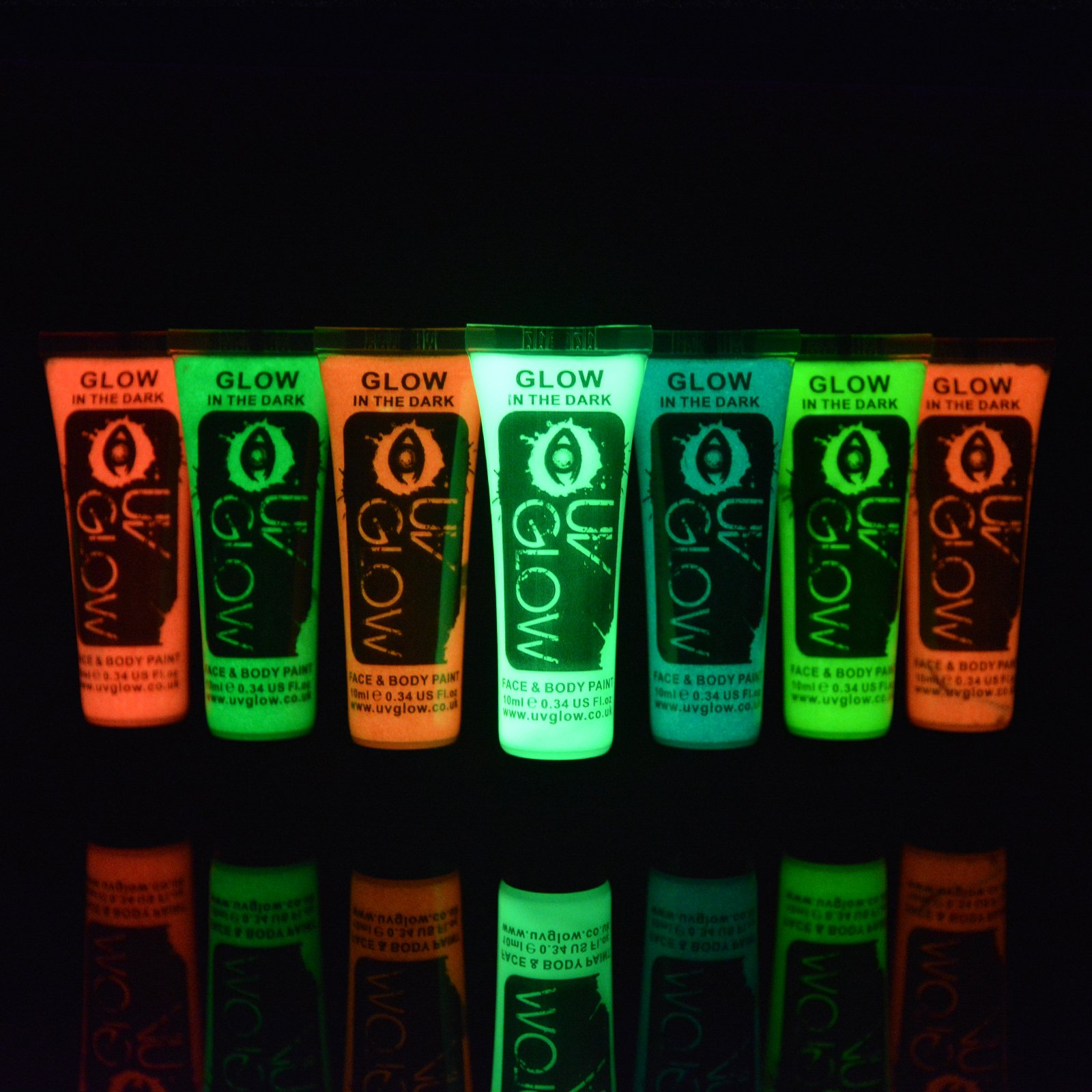 UV Glow - Glow in the Dark Face & Body Paint 0.34oz - Pack of 28 Tubes