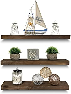 "Rustic Farmhouse 3 Tier Floating Wood Shelf - Real Hardwood Floating Wall Shelves (Set of 3), Hardware and Fasteners Included (Walnut, 24"")"