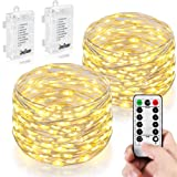 Amazon Price History for:2 PCS,String Lights, Homestarry 66 LEDs Battery Powered warm white String Lights With Remote, Indoor Decorative Silver Wire Lights for Bedroom ,Patio,Outdoor Garden,Stroller,Christmas Tree.(16ft)