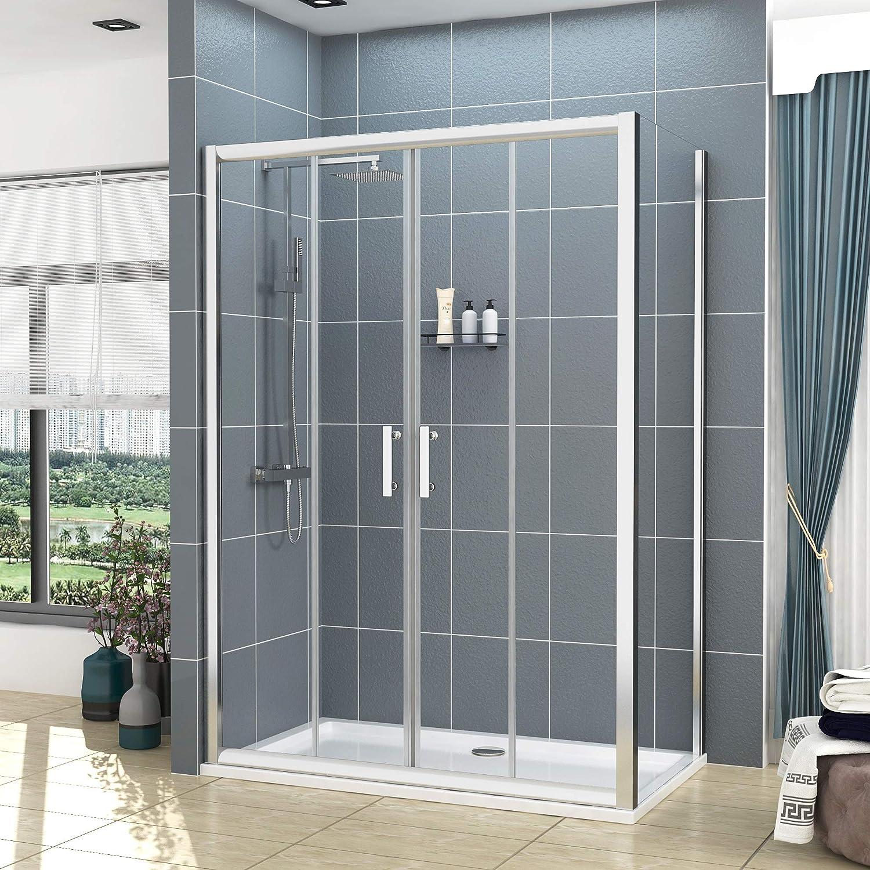 Mampara de baño 6 mm de vidrio cubículo Reversible deslizante doble puerta + Panel lateral, cromado, 1500x700mm: Amazon.es: Hogar