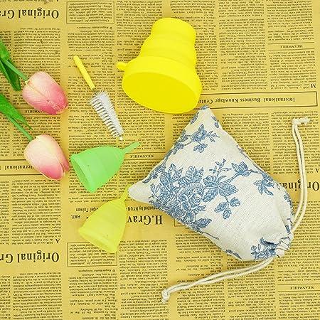 SPEQUIX - Juego de 2 copas menstruales reutilizables para mujer con 1 taza esterilizadora y 1 cepillo de limpieza