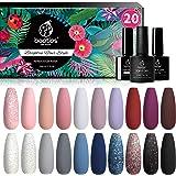 Beetles 20 Pcs Gel Nail Polish Kit, Modern Muse Collection Soak Off Nail Gel Polish Nude Gray Nail Polish Pink Blue…