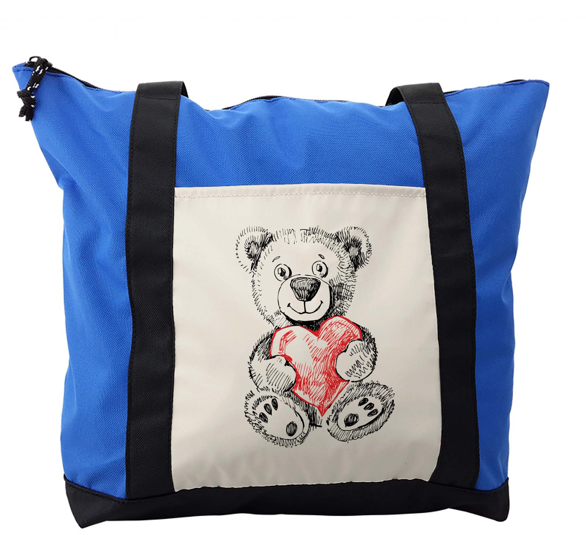 Lunarable Kids Shoulder Bag, Teddy Bear Holding a Heart, Durable with Zipper
