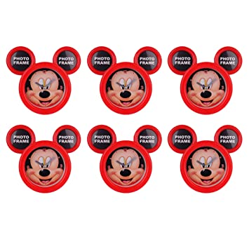 Asera 6 Pcs Mickey Mouse Table Clock Cum Photo Frame For Birthday