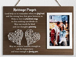 YLOVAN 12.5×8.5 Marriage Prayer Wedding Gifts for Couples Anniversary, Rustic Wood Plaque Christian Engagement Gifts for Bridal Her Wife, Home Bedroom Decor with Handmade String Heart & Picture Frame