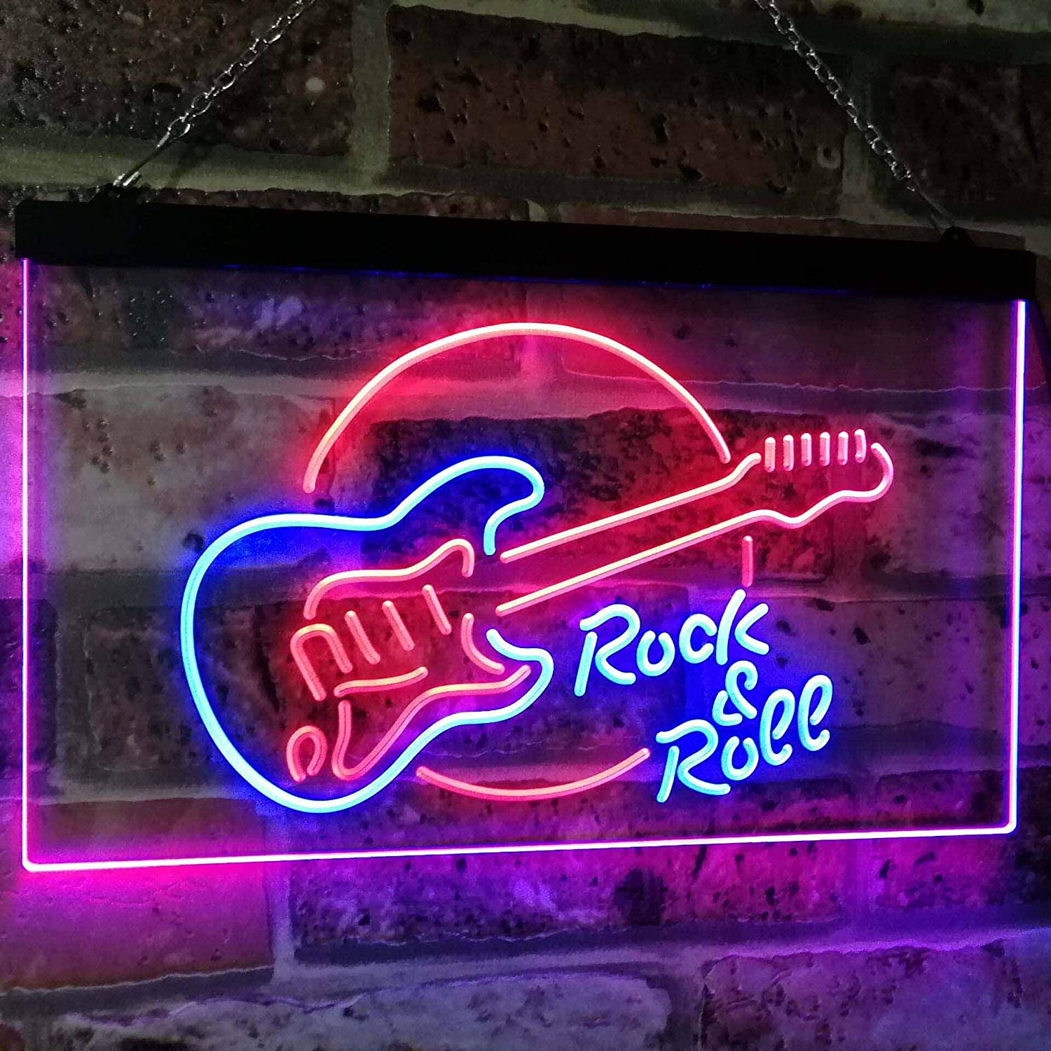 AdvpPro 2C Rock & Roll Electric Guitar Band Room Music Dual Color LED Neon Sign Red & Yellow 300mm x 210mm st6s32-i2303-ry ADVPRO