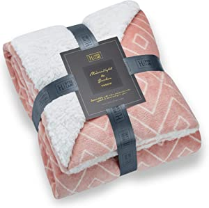 Hyde Lane Comfy Sherpa Throw Blankets for Couch and Bed | Fuzzy Throw Blankets for Women | Sherpa & Berber - Adults Size with Faux Fur (Diamond Blush, 50 x 60)