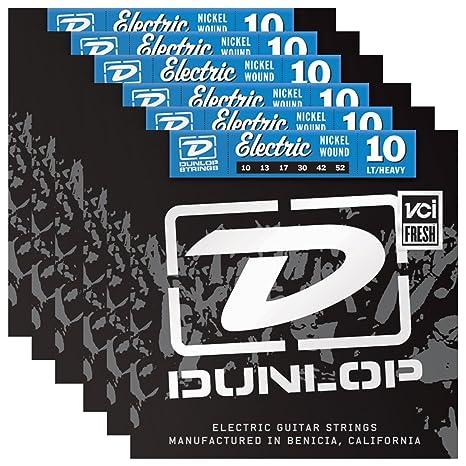 6 juegos de Dunlop den1052 cuerdas para guitarra eléctrica 10 – 52