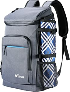 KUYOU Cooler Backpack 35 Cans Leakproof Insulated Ice Backpack with Picnic Mat Soft Beach Cooler Lightweight Cooling Backpack Bag Pouch for Lunch Picnic Travel Camping Hiking