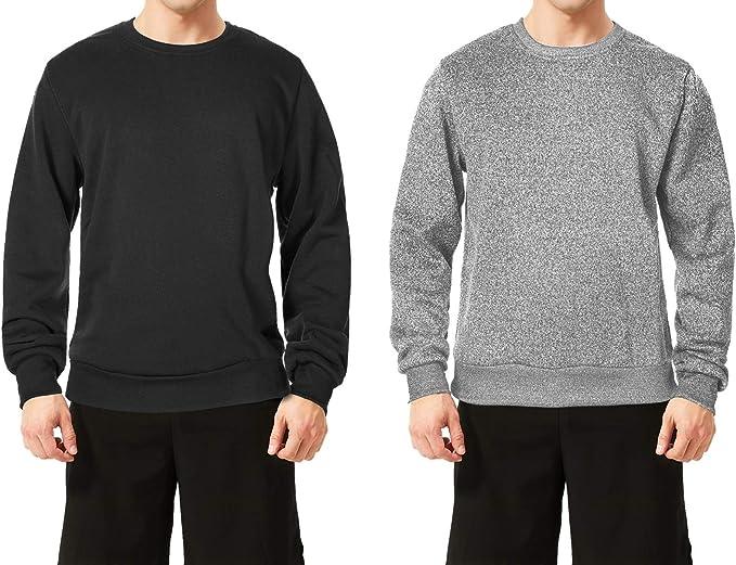 TEXFIT 2-Pack Men's Crewneck Sweatshirt, Active Fleece Crew Neck Pullover Sweater (Black/Light Grey Melange, Large)