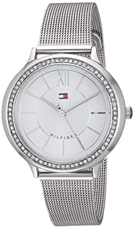 e90d9983 Image Unavailable. Image not available for. Color: Tommy Hilfiger Women's  Quartz Watch with Stainless-Steel Strap, Silver ...
