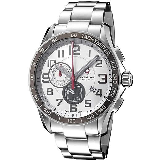 Victorinox Swiss Army Chrono Classic - Reloj de caballero de cuarzo, correa de acero inoxidable color plata: Victorinox Swiss Army: Amazon.es: Relojes