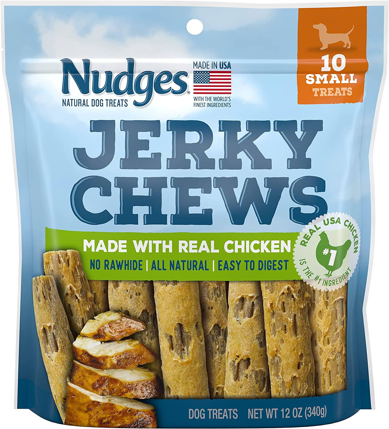 Nudges Natural Dog Treats Jerky Chews Made with Real Chicken