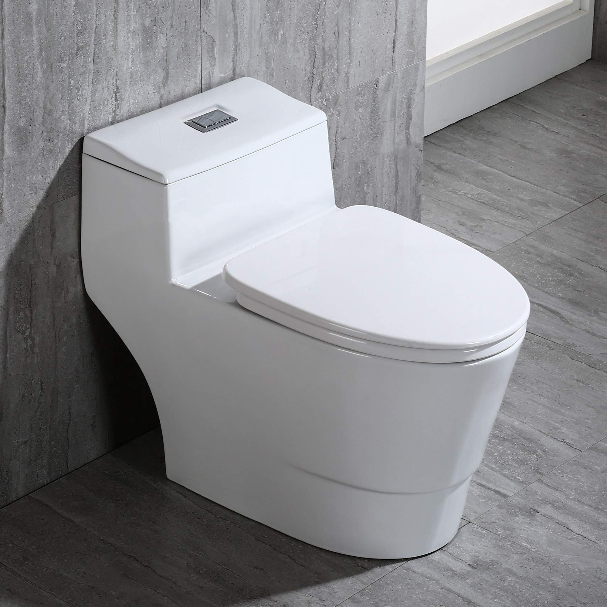 WOODBRIDGE T-0018/B-0735 Dual Flush Elongated One Piece Toilet with Soft Closing Seat, Comfort Height, White T-0018/B0735, Modern by Woodbridge