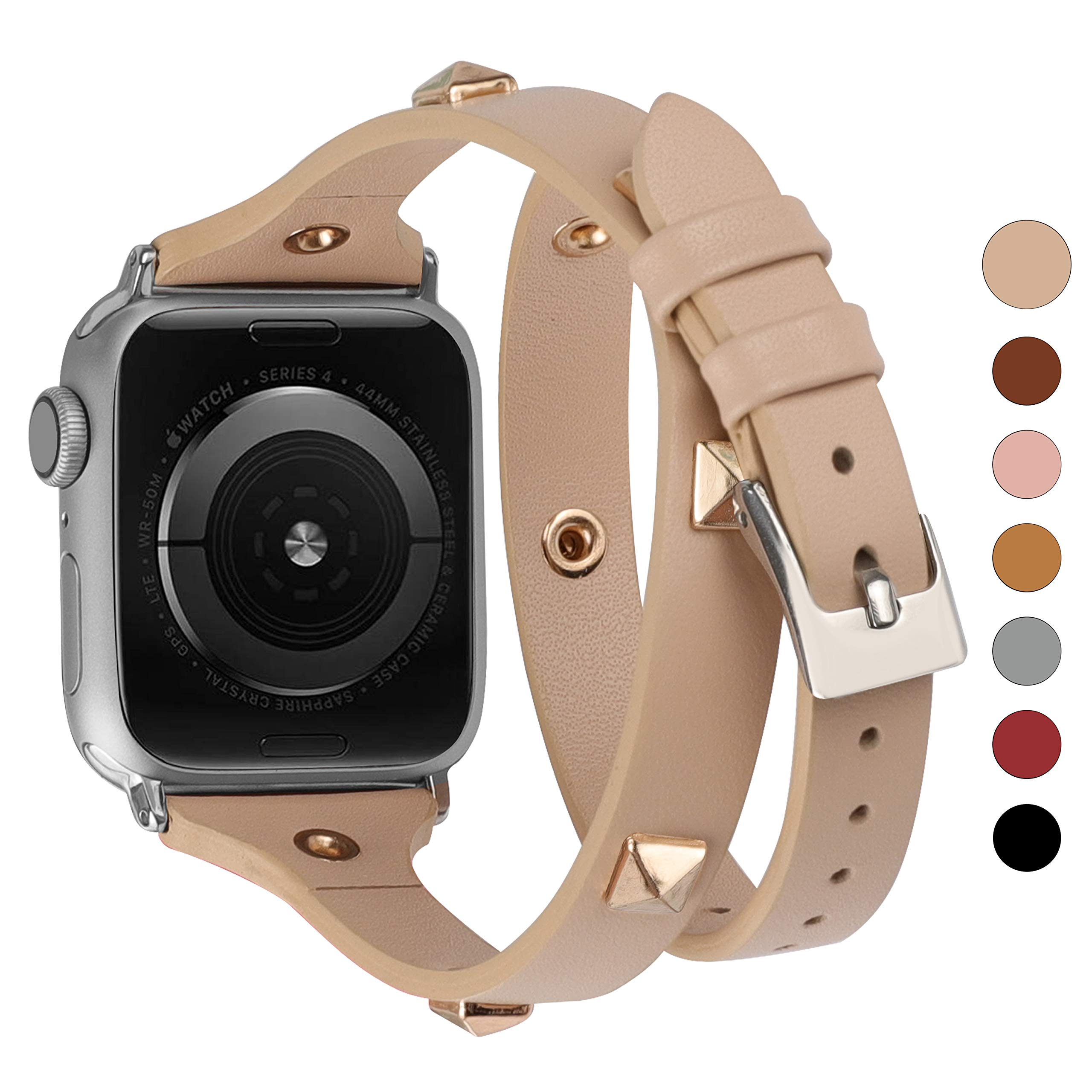 Glebo Leather Double Wrap Band Compatible For Watch 38mm 40mm Studded With Rose Gold Rivet Watch Bands Strap Compatible For Series 5 Series 4 Series 3 Series 2 Series 1 Beige Buy Online In