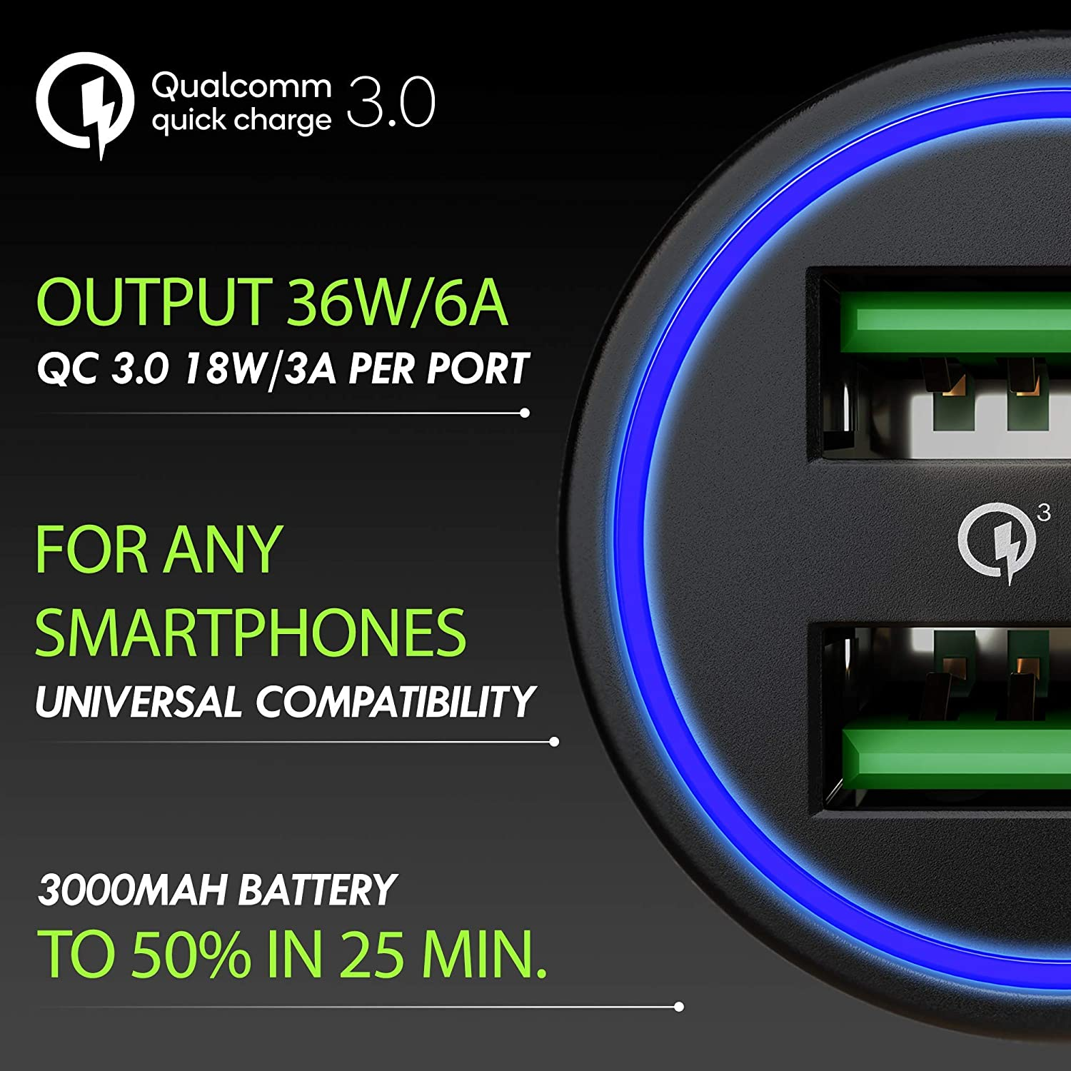 Compatible with Any iPhone Qualcomm Quick Charge 3.0 Dual USB 6A//36W Fast Car Charger Adapter Two Ports QC 3.0 3A Galaxy S10 S9 S8 S7 Note LG Nexus etc. 2019 Metal Car Charger by MONGOORA