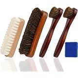 Oudrlim kit de brosses à chaussures de 4 pièces. Contenant brosses à lustrer, 2 pinceaux applicateurs à chaussures et 1 Brosse á Daim