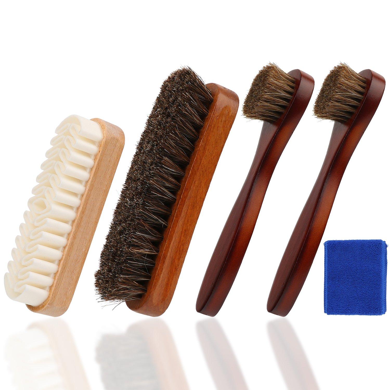 Contenant brosses /à lustrer 2 pinceaux applicateurs /à chaussures et 1 Brosse /á Daim Oudrlim kit de brosses /à chaussures de 4 pi/èces