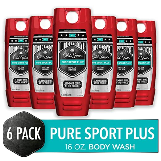 Old Spice Dirt Destroyer Body Wash for Men, Pure Sport Plus Scent, Hardest Working Collection, 16.0 Ounce (Pack of 6)