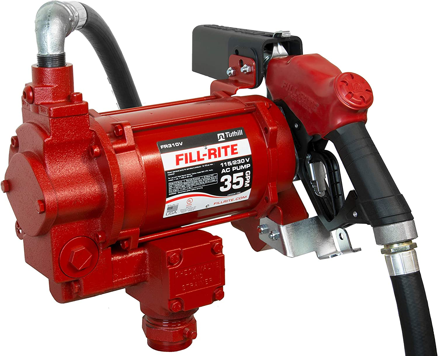 Automatic Nozzle Fill-Rite FR310VB 115//230V 35 GPM Fuel Transfer Pump with Discharge Hose