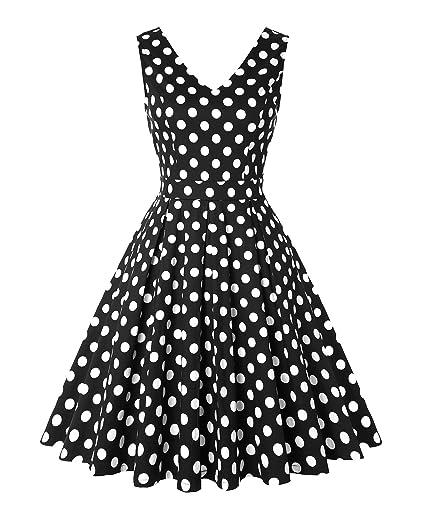 274a24fbb19 Amazon.com: ROOSEY Women's Polka Dot Retro Party Dress V Neck ...