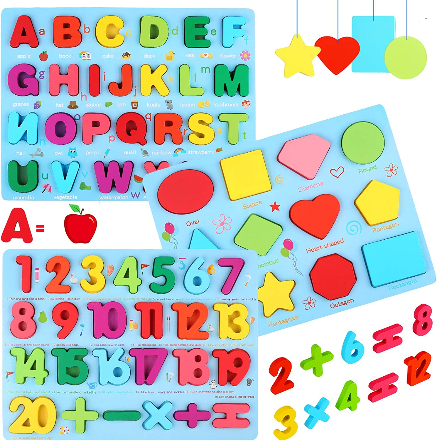Wooden Puzzles for Toddlers, Kesletney Wooden Numbers Alphabet and Shape Puzzles Set Toddler Wood Learning Toys Preschool Education Puzzle Board Gifts for Kids Boys Girls Ages 3 + (Set of 3): Toys & Games