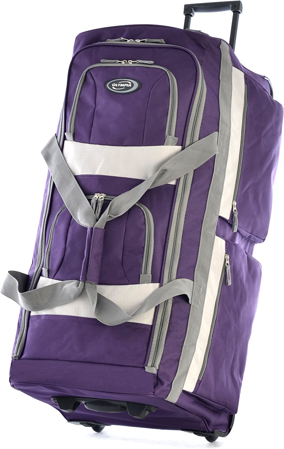 | Olympia 8 Pocket Rolling Duffel Bag, Dark Lavender, 33 inch | Travel Duffels