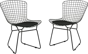 Great Deal Furniture Fonda Outdoor Iron Chairs (Set of 2), Black and Black