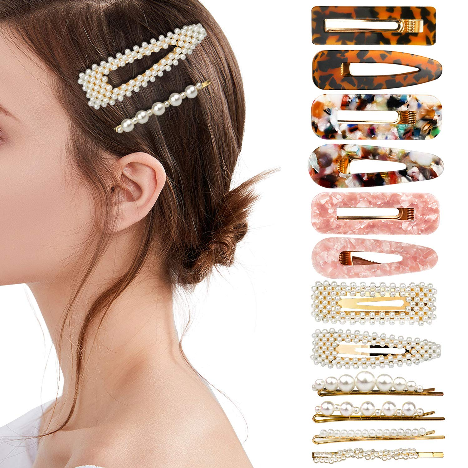 Langwolf Hair Clips for Women Girls, Styling Acrylic and Pearls Hair Barrettes for Ladies Short, Medium, Long, Braids Hair Decorations