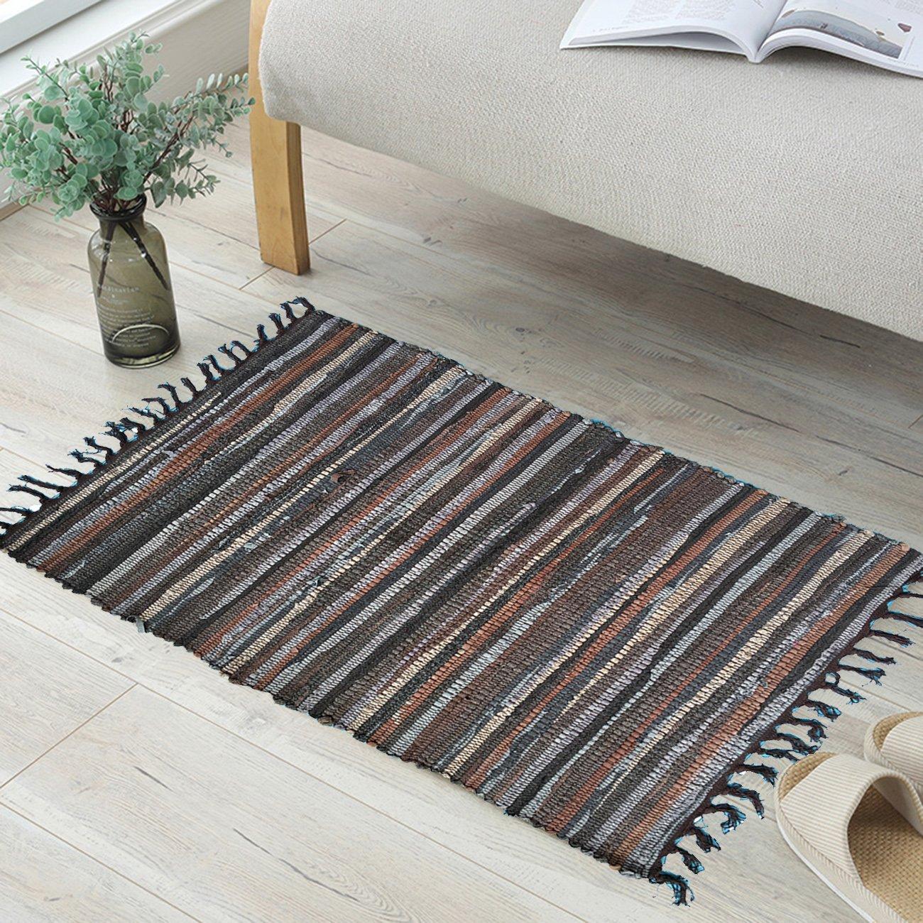 ANJUREN Multifunction Reversible Durable Color Stripe Area Rugs Rags Hand Woven Washable Runner Rug Carpet Mat Pad For Kitchen Bathroom Door Bedroom Apartment Sofa Window Bed Pet (23.6''x35.4'', Coffee)