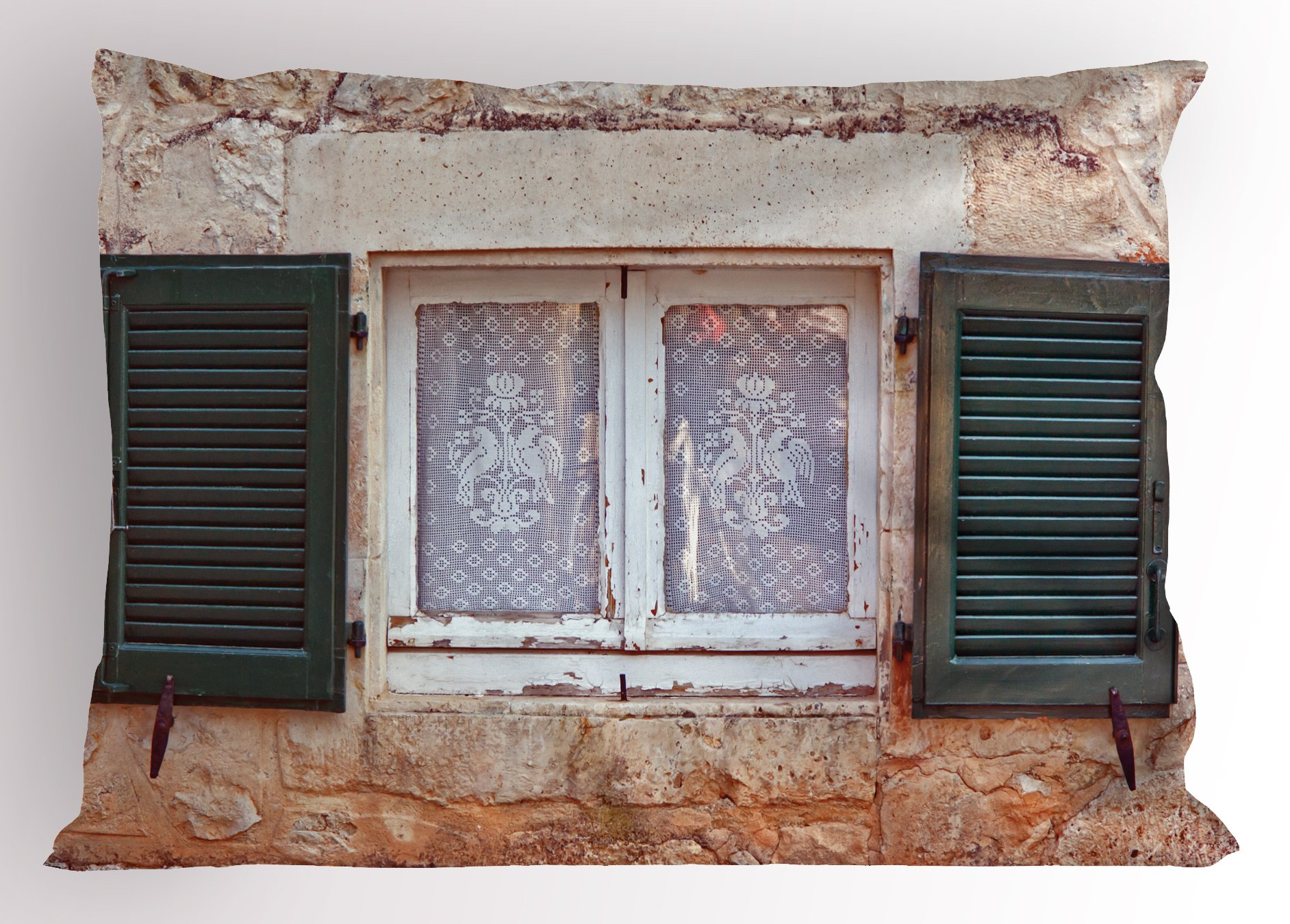Lunarable Country Pillow Sham, Mediterranean Aged Cottage with Antique Window Shutters in Greece Island Image, Decorative Standard Size Printed Pillowcase, 26 X 20 inches, Grey Green