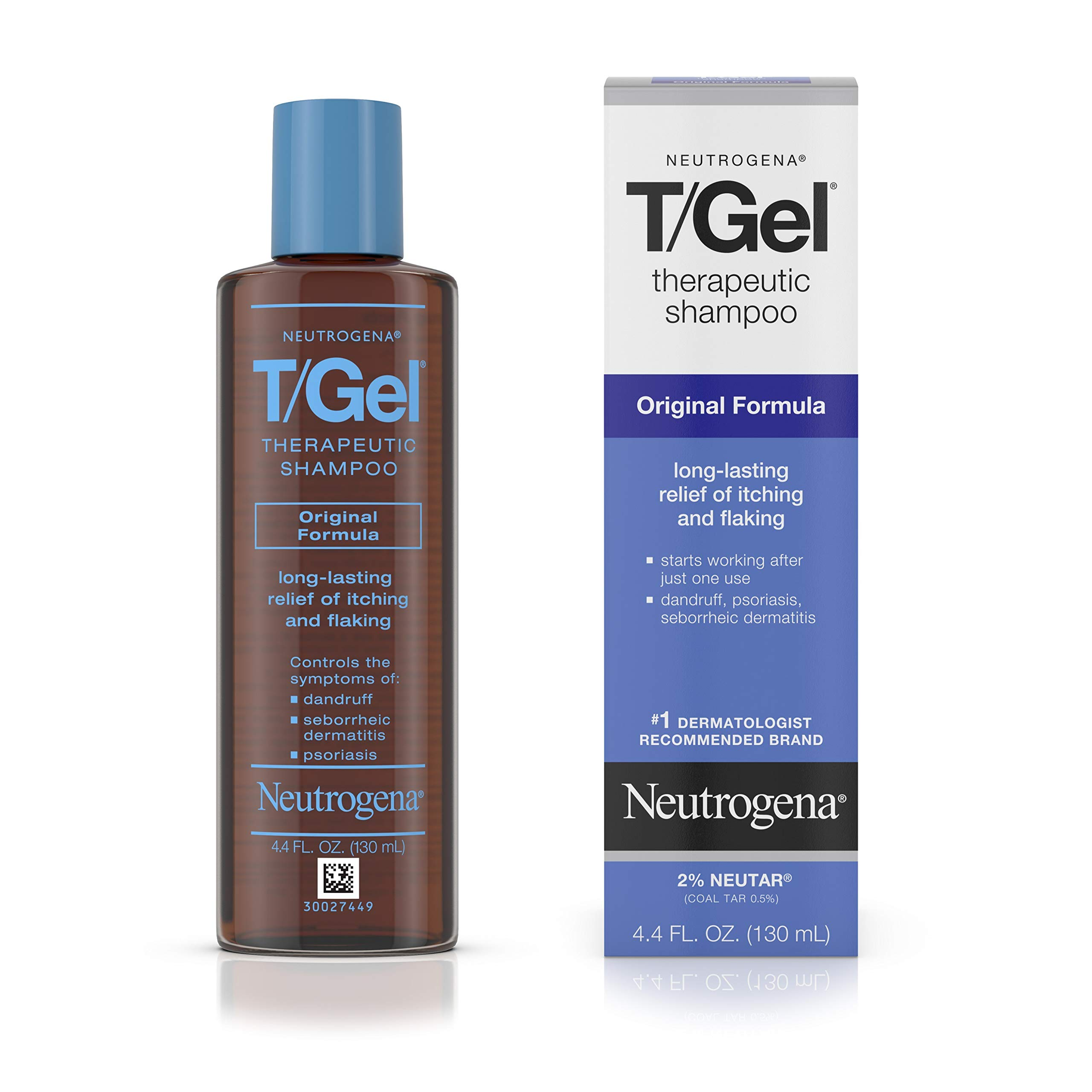 Neutrogena T/Gel Therapeutic Shampoo Original Formula, Anti-Dandruff Treatment for Long-Lasting Relief of Itching and Flaking Scalp as a Result of Psoriasis and Seborrheic Dermatitis, 4.4 fl. oz