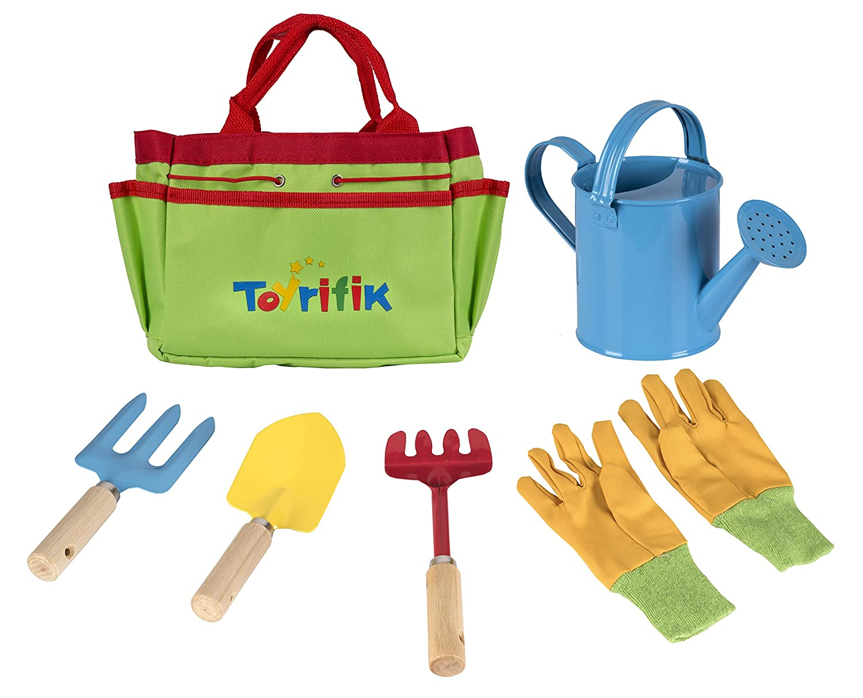 . Little Gardener Tool Set With Garden Tools Bag For Kids Gardening   Kit  Includes Watering Can  Children Gardening Gloves  Shovel  Rake  Fork And