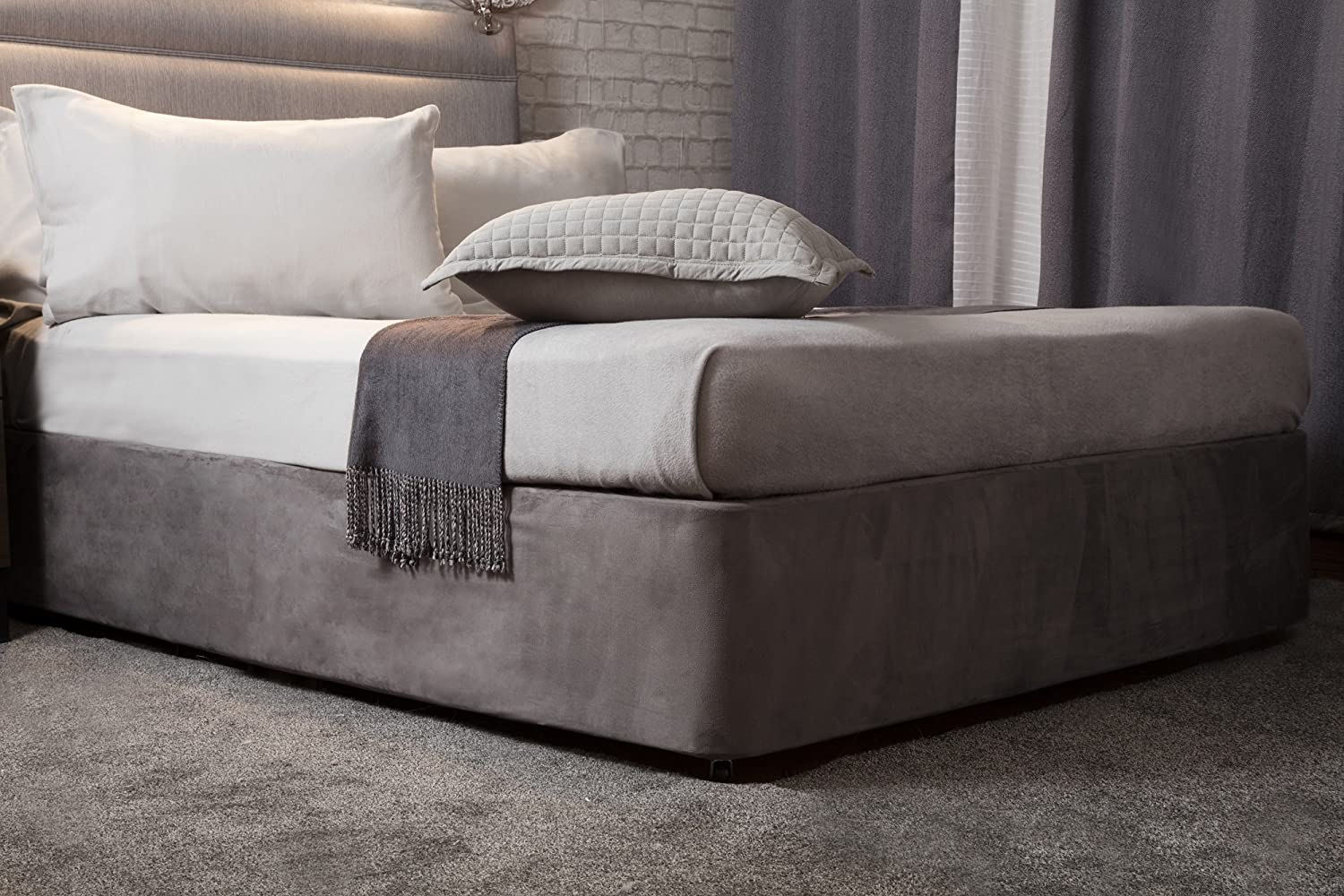 Transforms a drab looking bed base divan Charcoal, King Luxury Faux Suede Belledorm 19 Extra Deep Base Wrap Valance Sheet