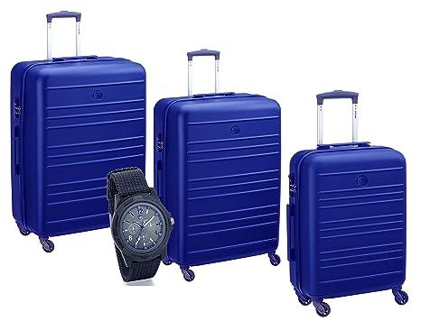 Delsey Juego de maletas negro azul claro 55, 66 e 77 cm.