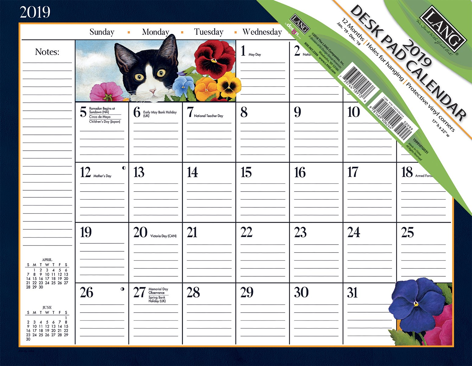 Lang American Cat 2019 Deskpad Office Desk Pad Calendar (19991010031)