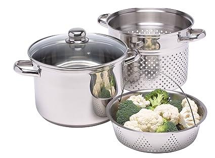 kitchen craft italian collection pentola per pasta in acciaio inox con inserto per cottura al vapore