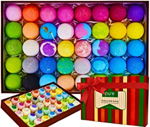 Natural Bath Bombs Gift Set - Individually Wrapped Luxury Bulk Bath Bomb Gift Set for Women & Kids!