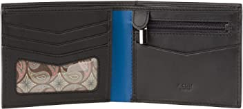 A-SLIM Yugen - RFID Blocking Wallet - Cash and Coin Leather Wallet - 1 ID Window + 3 Card Slots and Zipped Coin Pocket